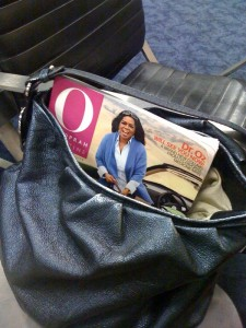 Oprah Magazine in bag