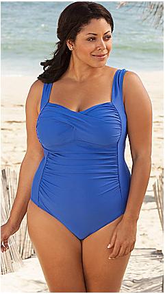 Delta Burke Royal Twist Front Swimsuit
