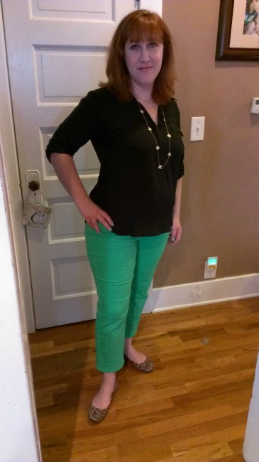 in green pants