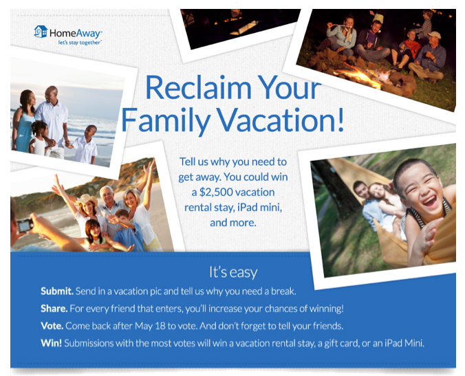 HomeAway Reclaim Your Family Vacation Sweepstakes