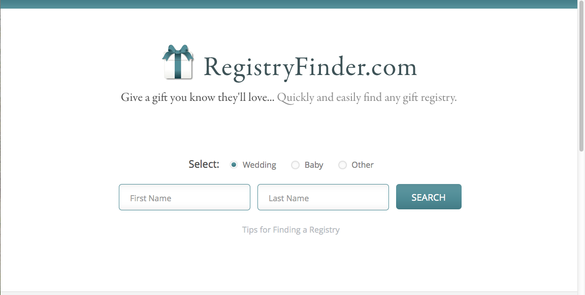 RegistryFinder home page