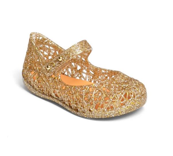 Mini Melissa Zig Zag Glitter Mary Jane Ballet Flats