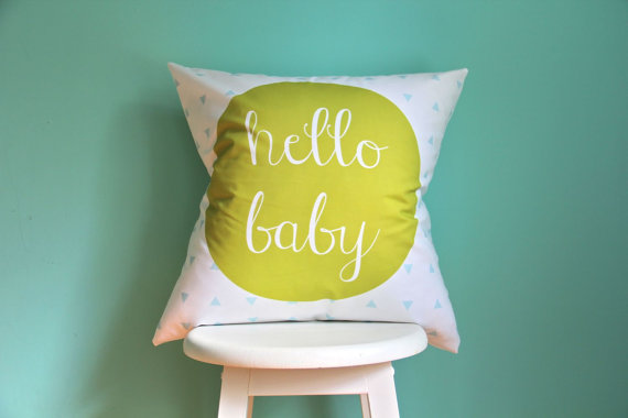 hello baby citron aqua pillow cover