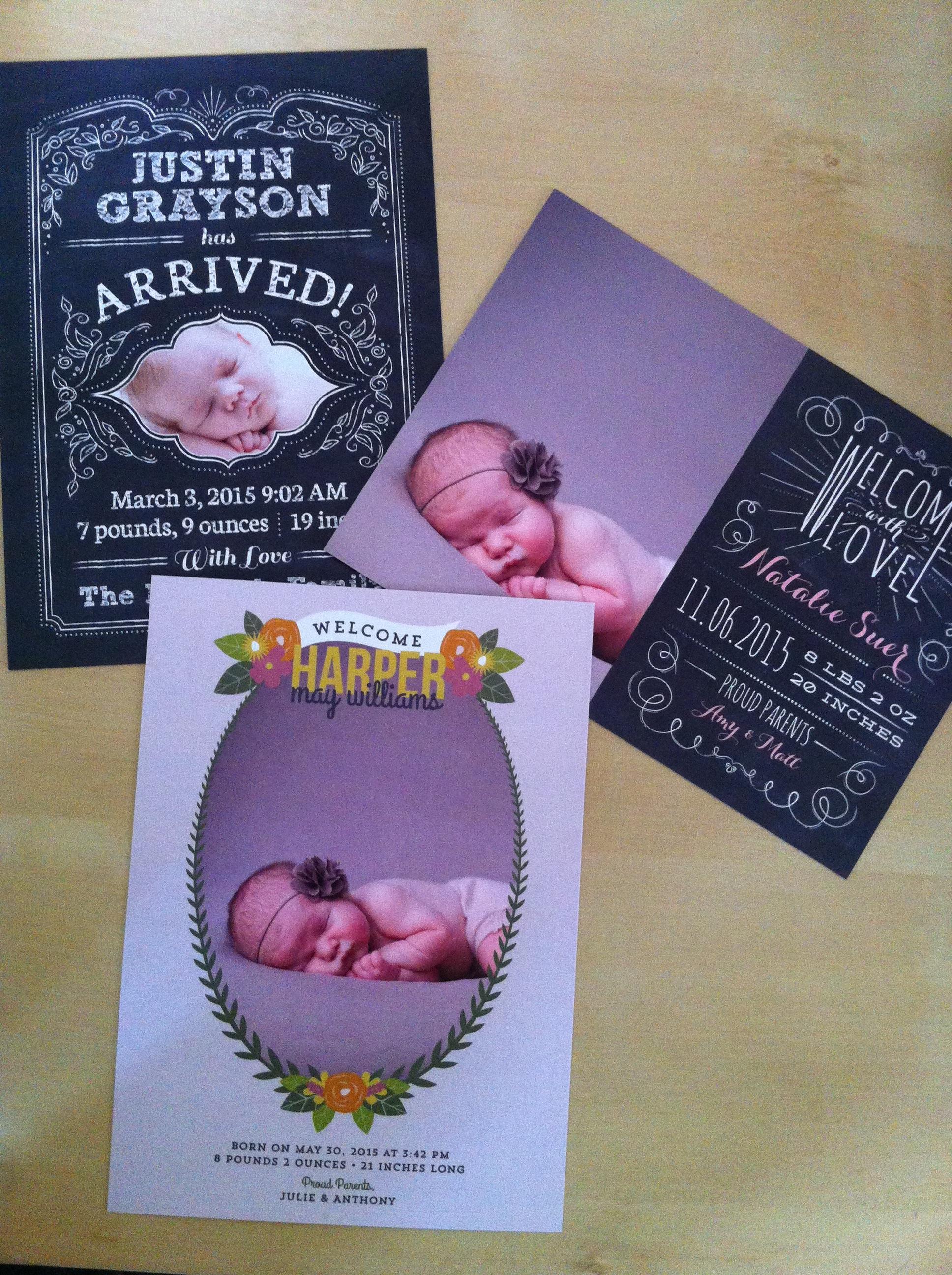 Love vs. Design free printable baby announcements