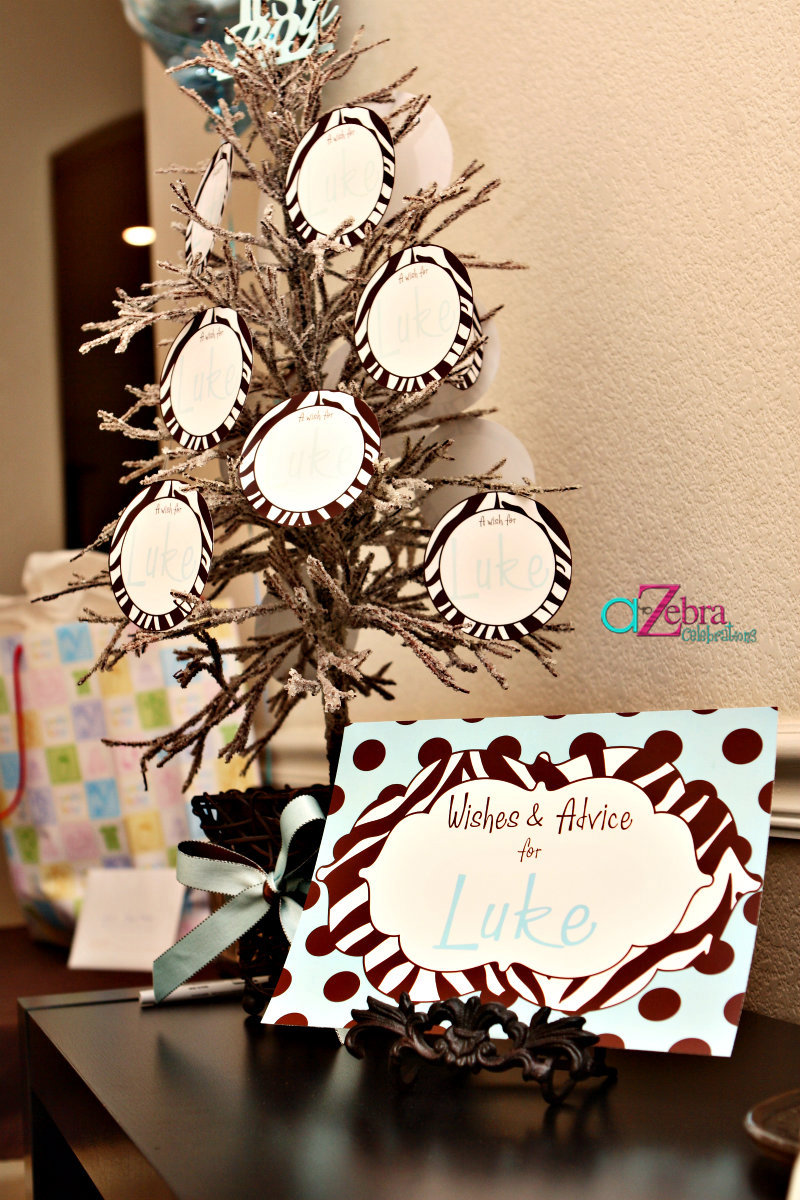 It 39 s a boy zebra themed baby shower savvy sassy moms for Baby shower tree decoration