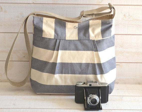 Gray and Ecru Stripes Pleated Diaper Bag