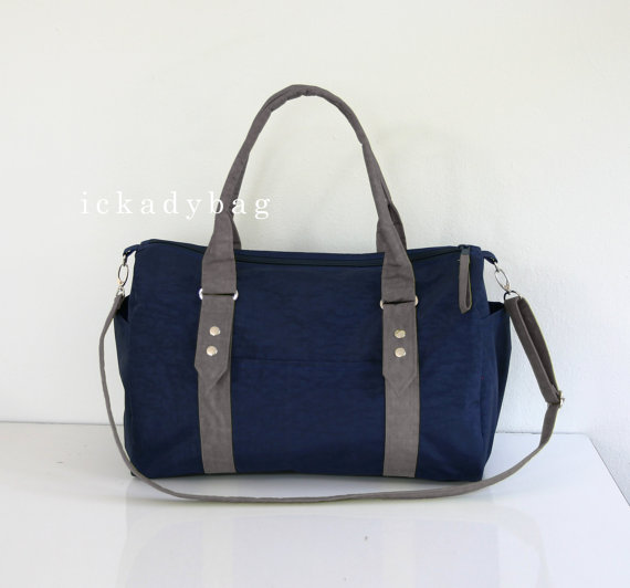 Navy Blue and Gray Diaper Bag