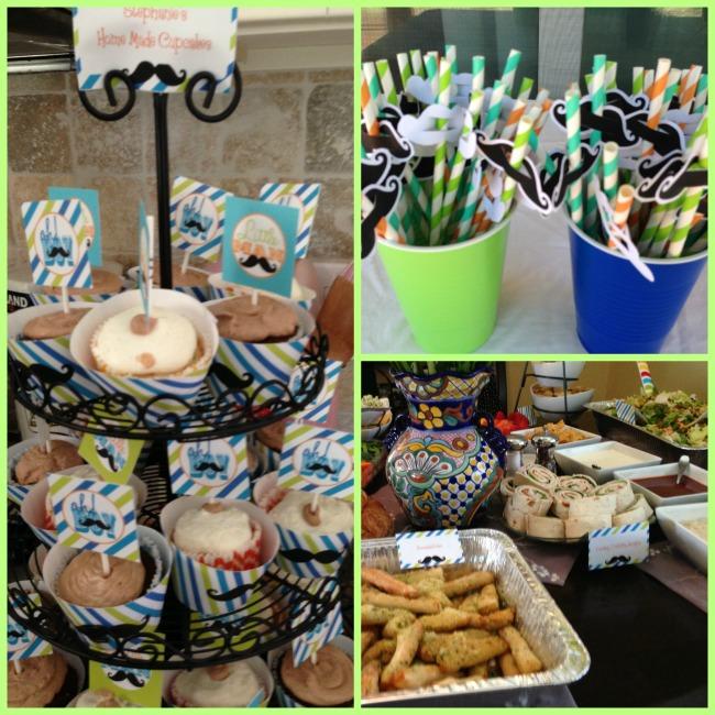 mustache bash food decorations