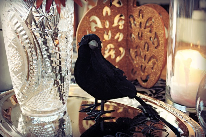 Crow in Halloween Centerpiece from Dollar Tree