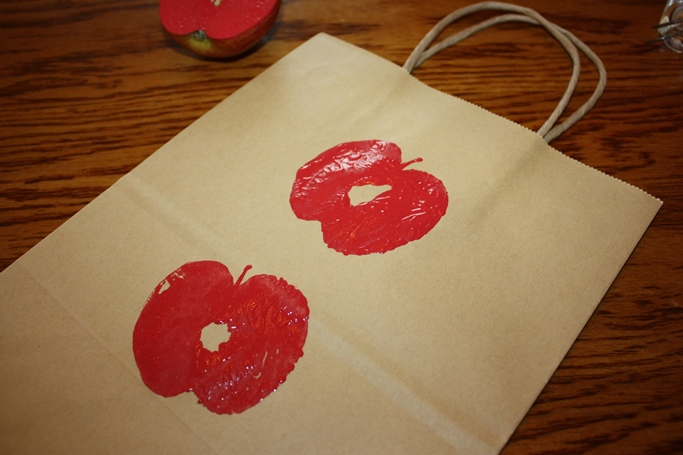 apple stamped bag, apple craft