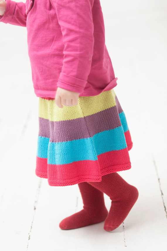 girls hand knitted cotton skirt, etsy kids clothes