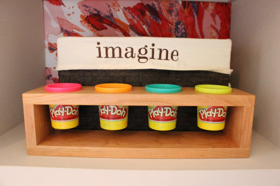 Wooden play-doh holder