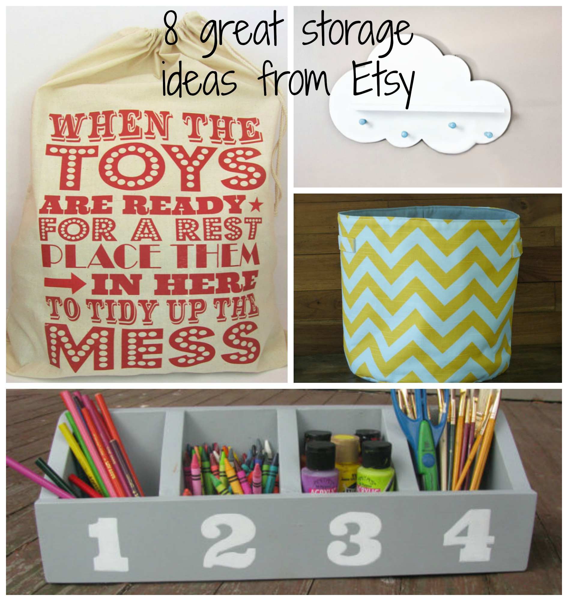 Toy storage ideas from Etsy