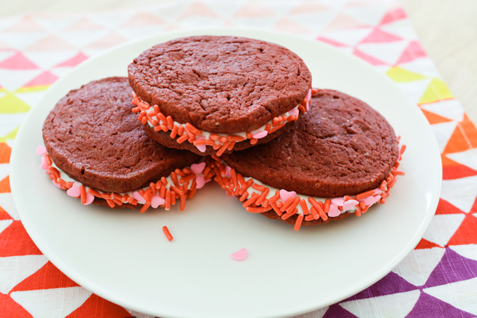 red velvet cake mix cookie sandwiches