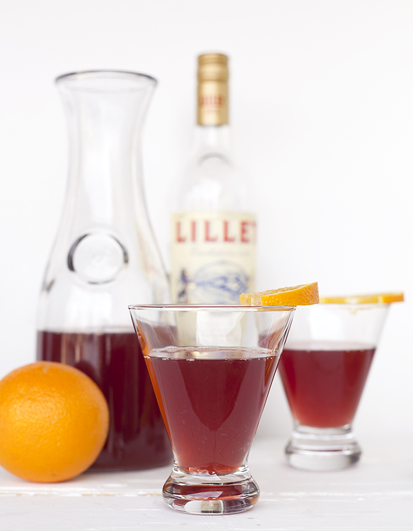 sparkling lillet rouge punch for superbowl