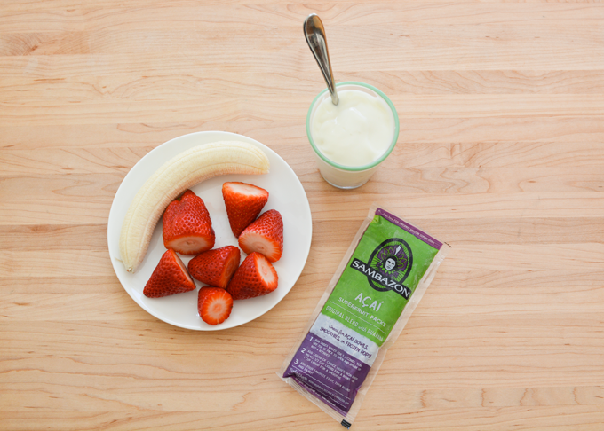 Strawberries and acai makes a smoothie kids will love.