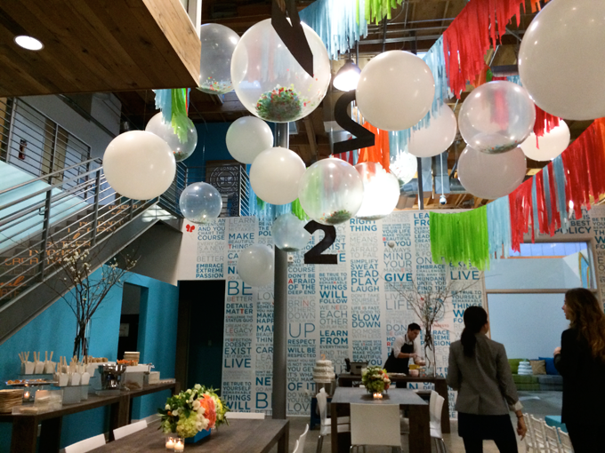 Party decorations at Honest Company's 2nd birthday party