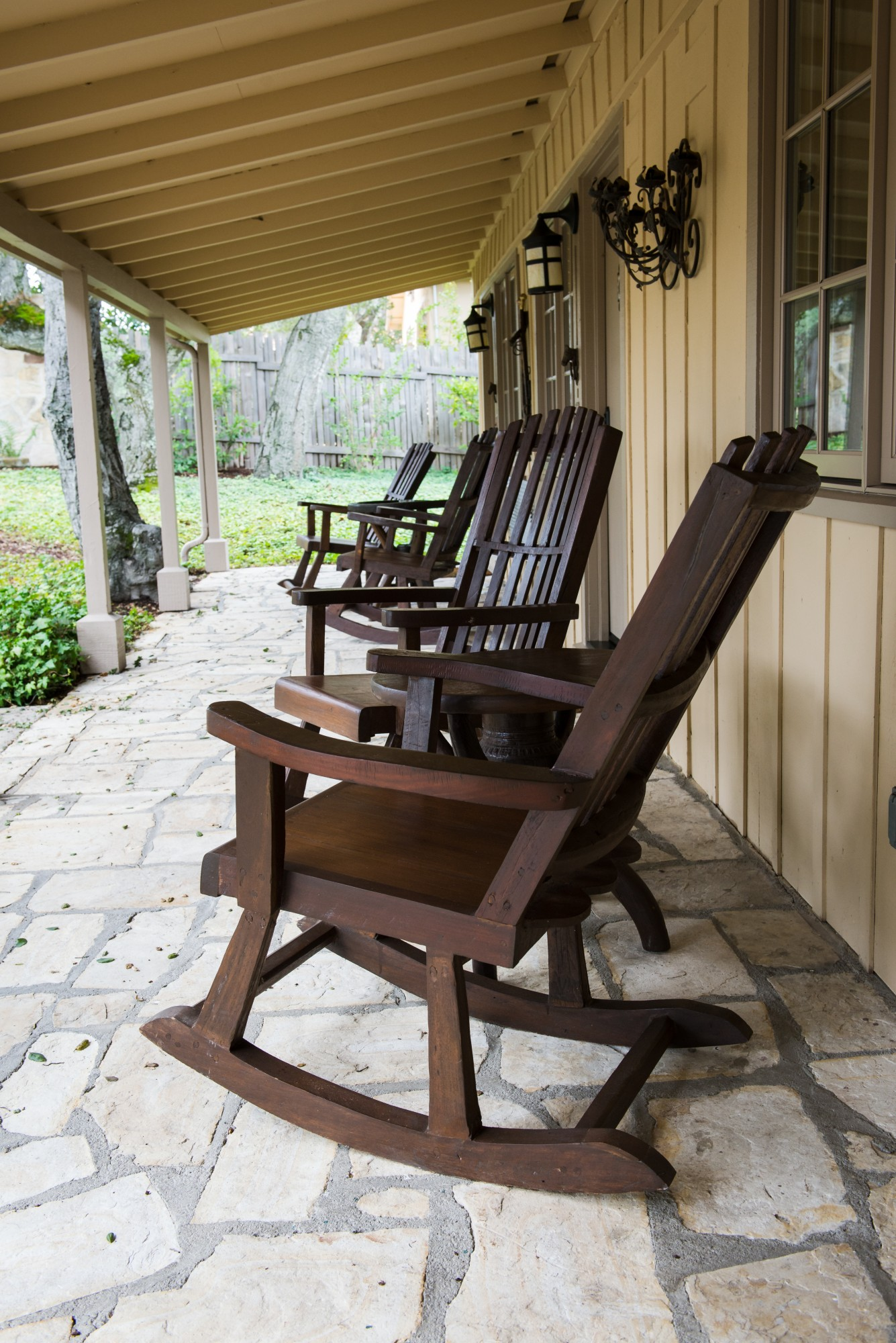 Holman Ranch, California winery, wooden rocking chair