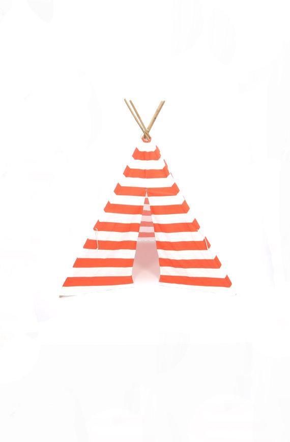 Orange and white strip tee pee