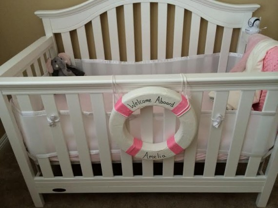 nautical nursery details for girls