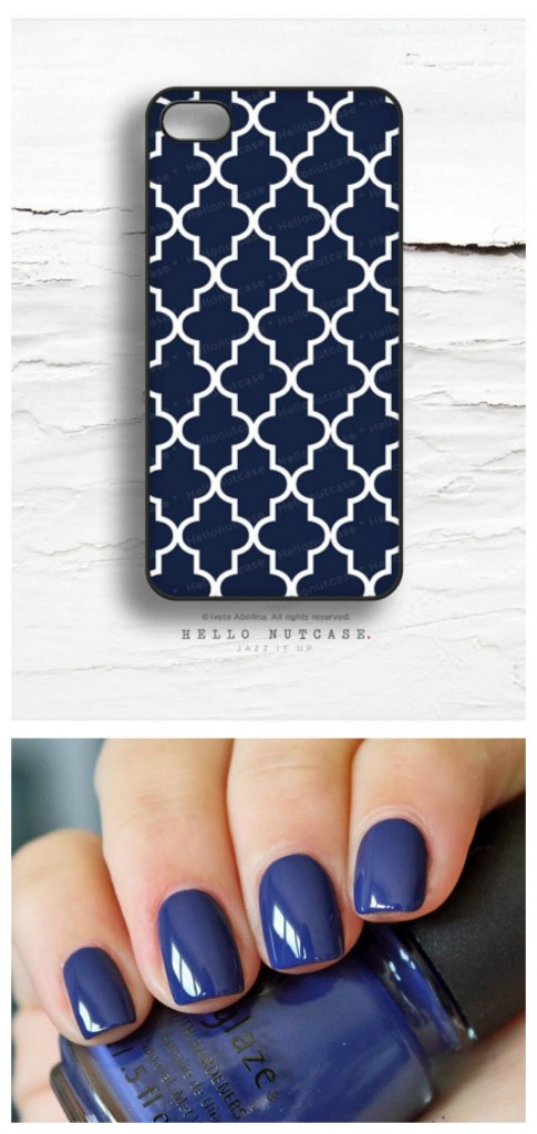 Navy blue nails and case