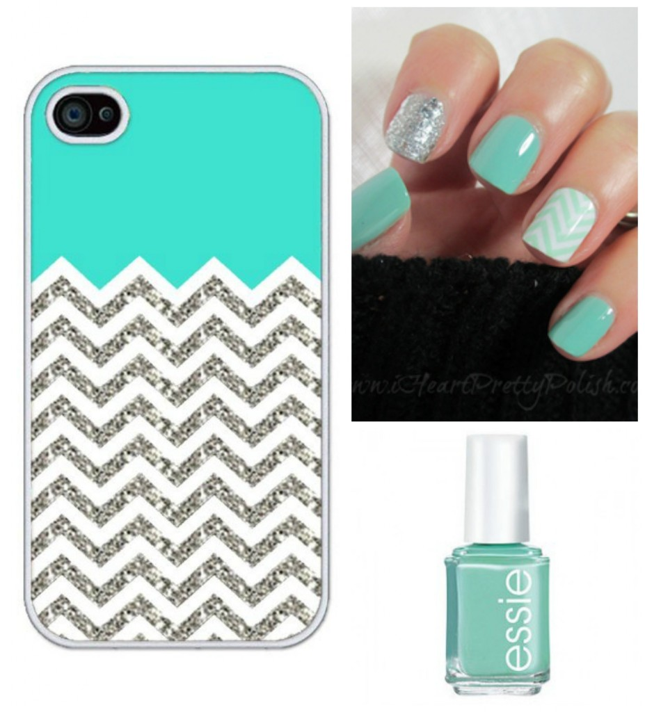 Turquoise and chevron nails and case