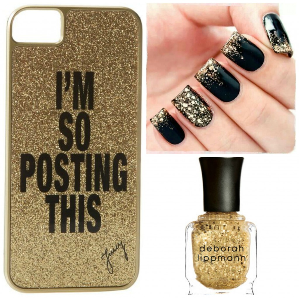 black and glitter nails and phone case