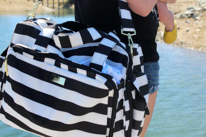 striped diaper bag