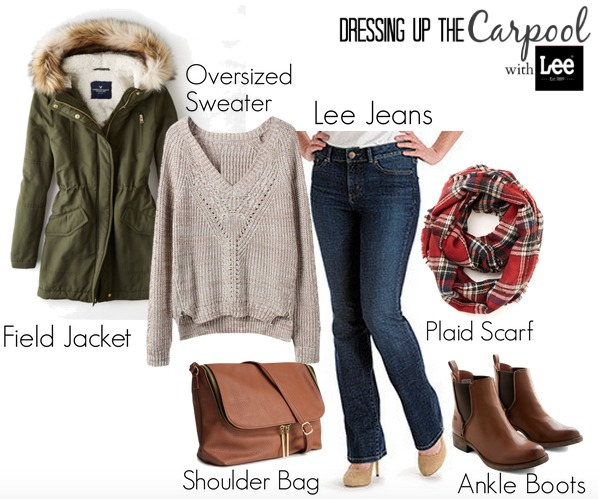 Dressing up the Carpool with Lee Curvy Fit Fashion PLaid Scarf
