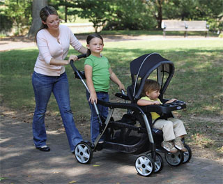 Graco Ready2Grow sit and stand stroller.
