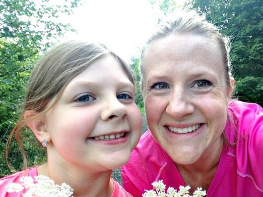 mother-daughter running