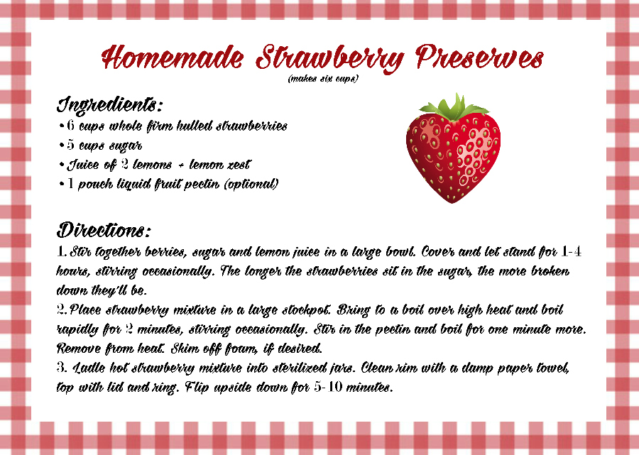 Homemade Strawberry Preserves Recipe Card