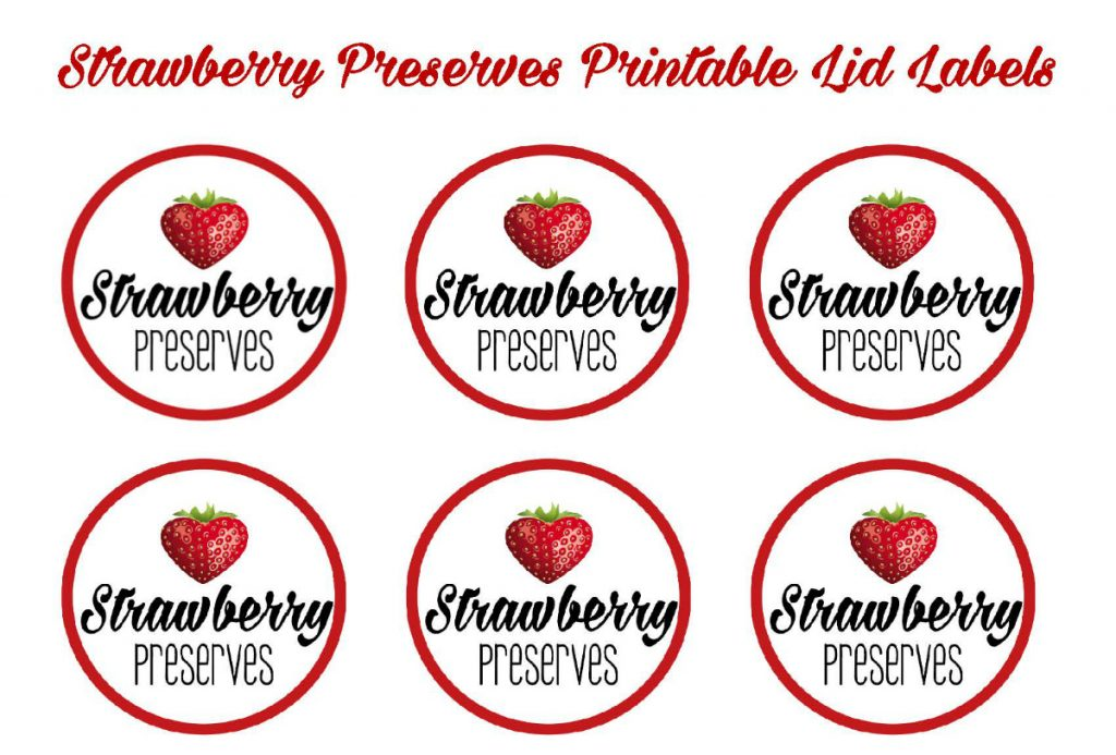 Strawberry Preserves Printable Lid Labels