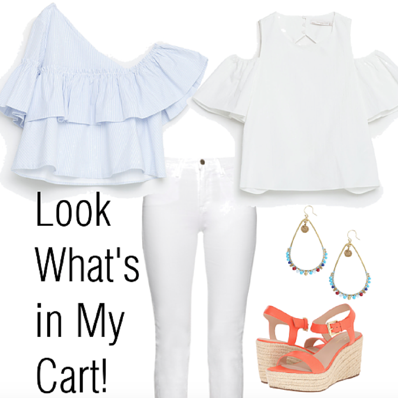 White jeans and ruffle top with wedges