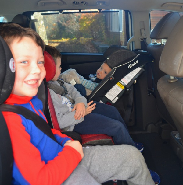 How to fit three car seats across the back seat