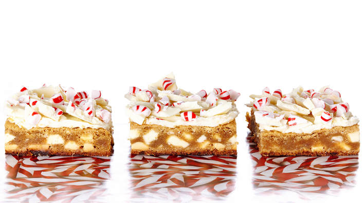 White Chocolate Peppermint Bark Blondies