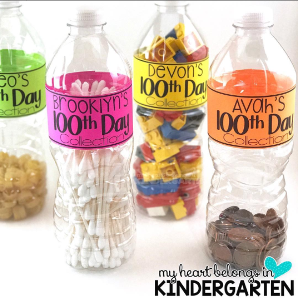 100 Days of School Ideas: Collection Water Bottles