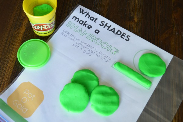What Shapes Make a Shamrock Play-Doh Mat - free printable