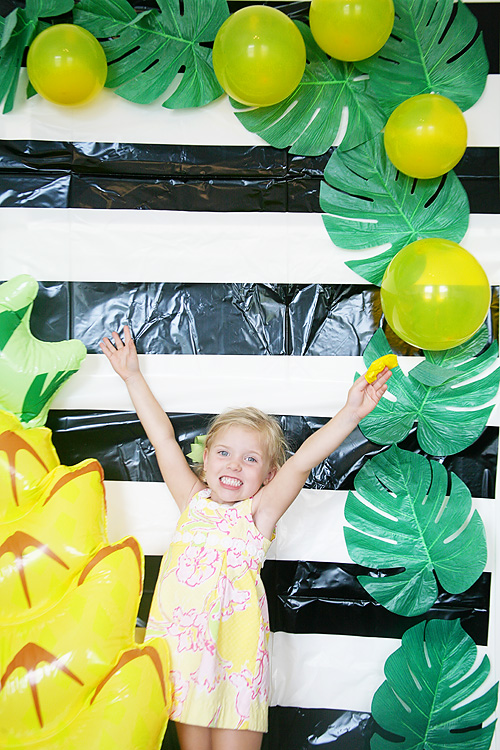 How to set up a pineapple themed photo booth for a pineapple party.