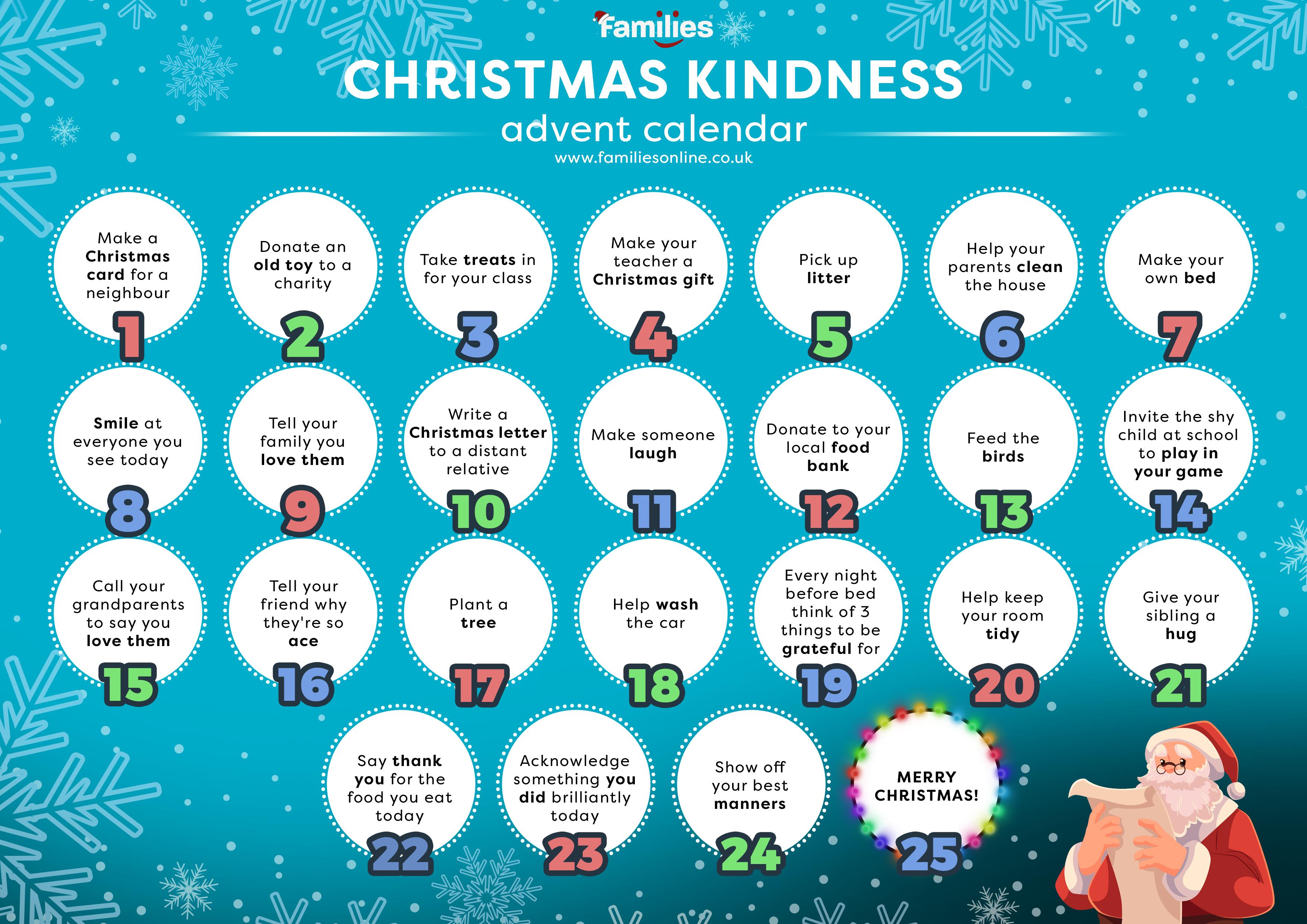 Kids Kindness Calendar : Simple ways to give thanks savvy sassy moms
